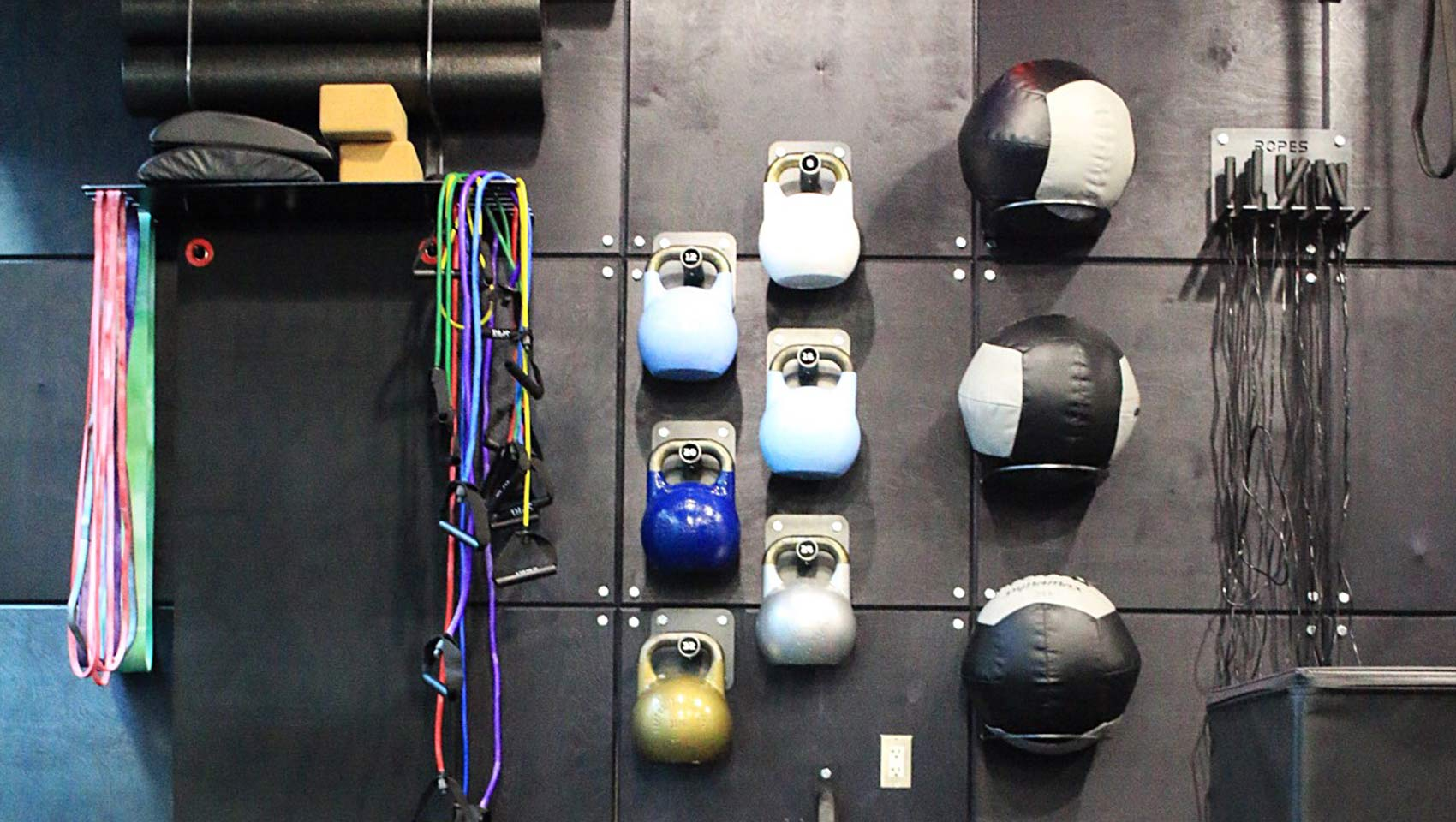 Fitness center ropes medicine balls Huntington Beach