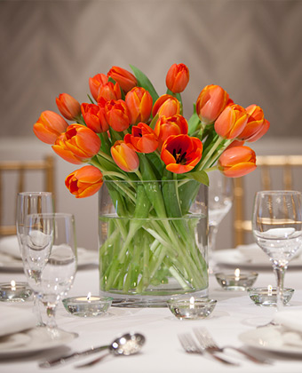 tulips on a wedding reception table