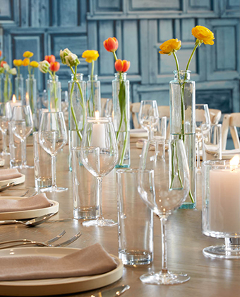 private dining table set with flowers and candles